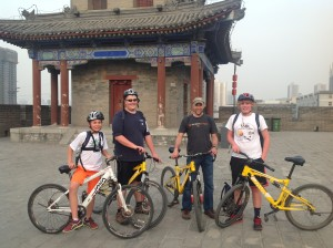 On the Xi'an wall with l-r, Anthony Selivanoff, my son Chris, myself and Alexander Selivanoff.